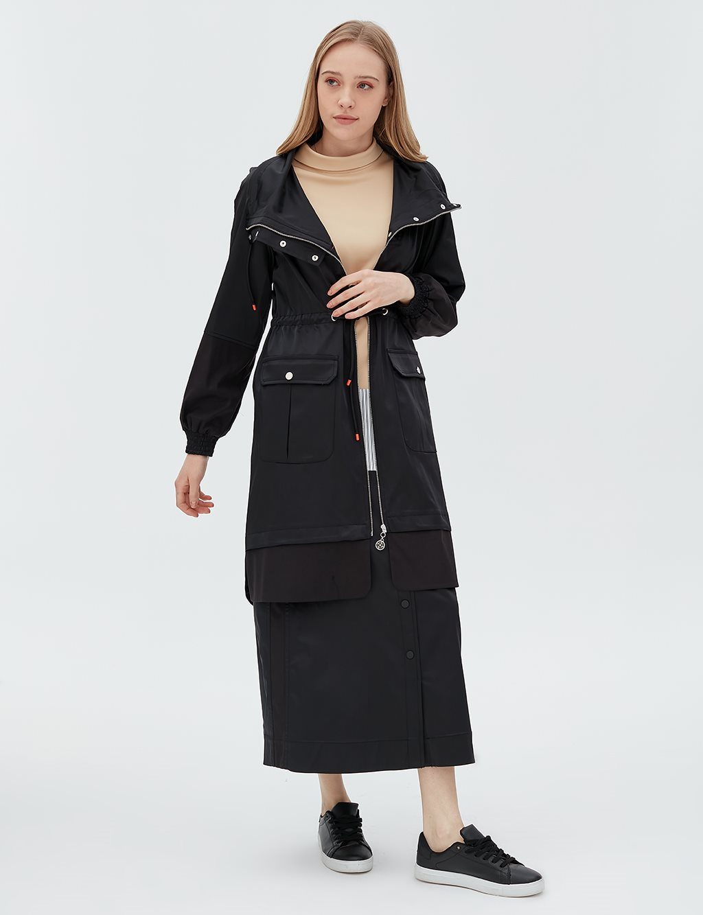 Ruched Coat With Zipper B20 24005 Black