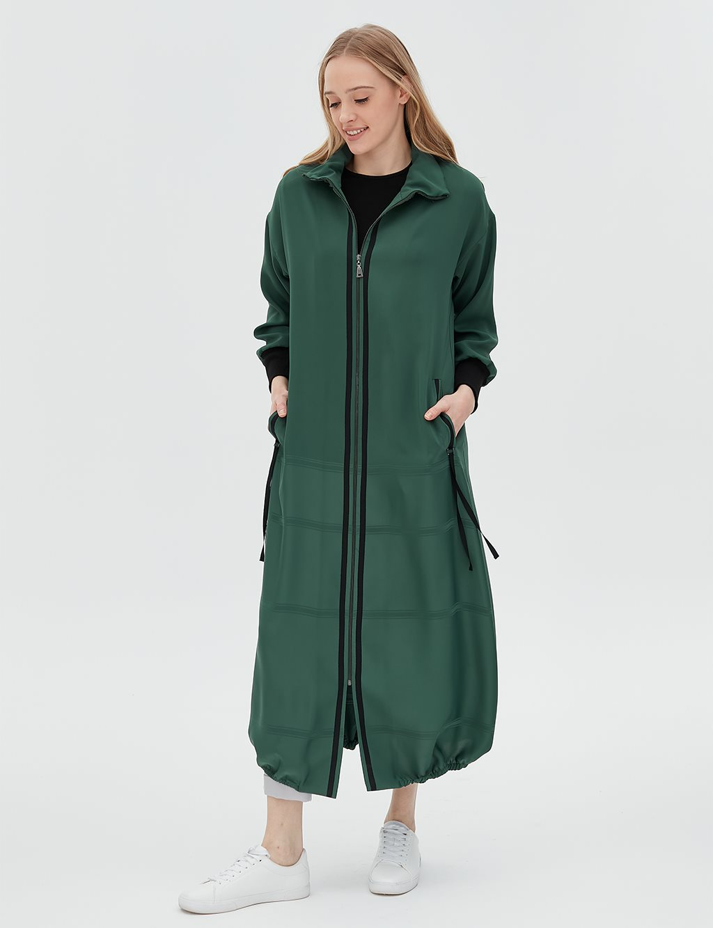 Stripe Detailed Overcoat B20 25011 Green