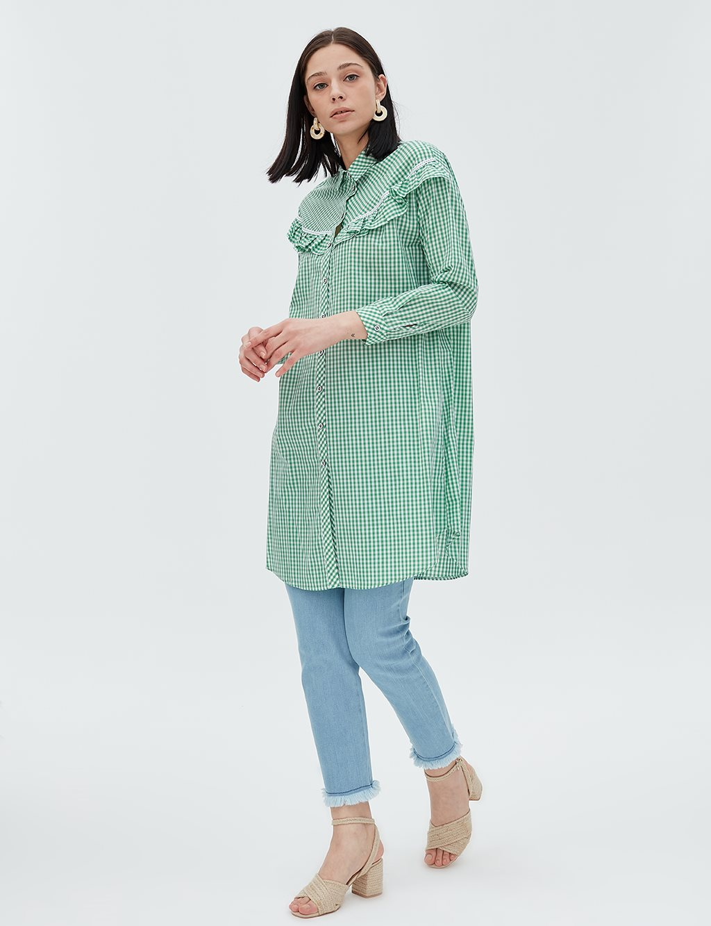 KYR Ruffle Detailed Checked Tunic B20 81327 Green