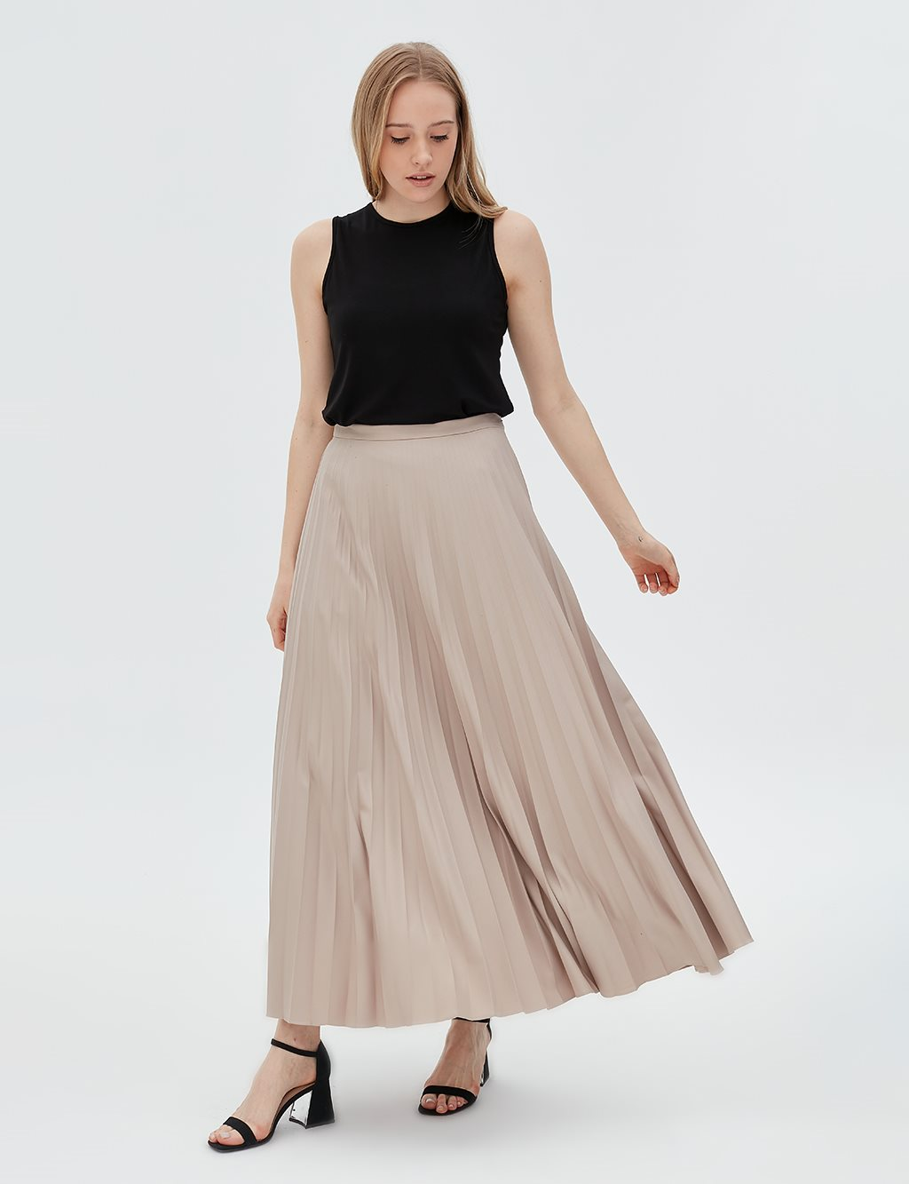 Basic Pleated Skirt SZ 12501 Stone