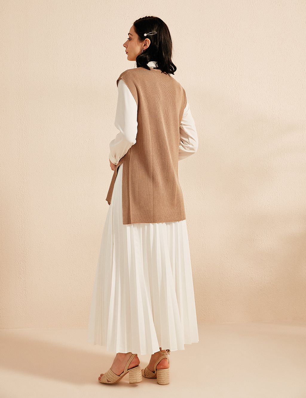 Button Detailed Knitwear Sweater B20 TRK10 Beige