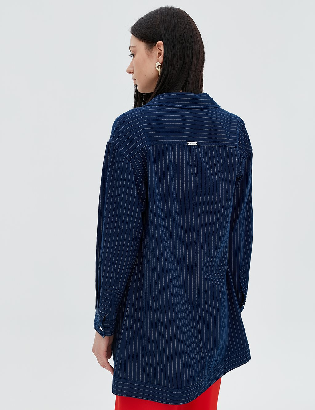 Striped Jacket With Double Pocket B20 13008A Navy