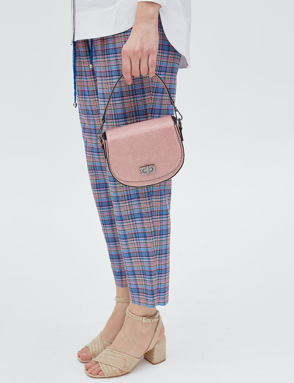 Chequered Carrot Pants B20 19154 Blue