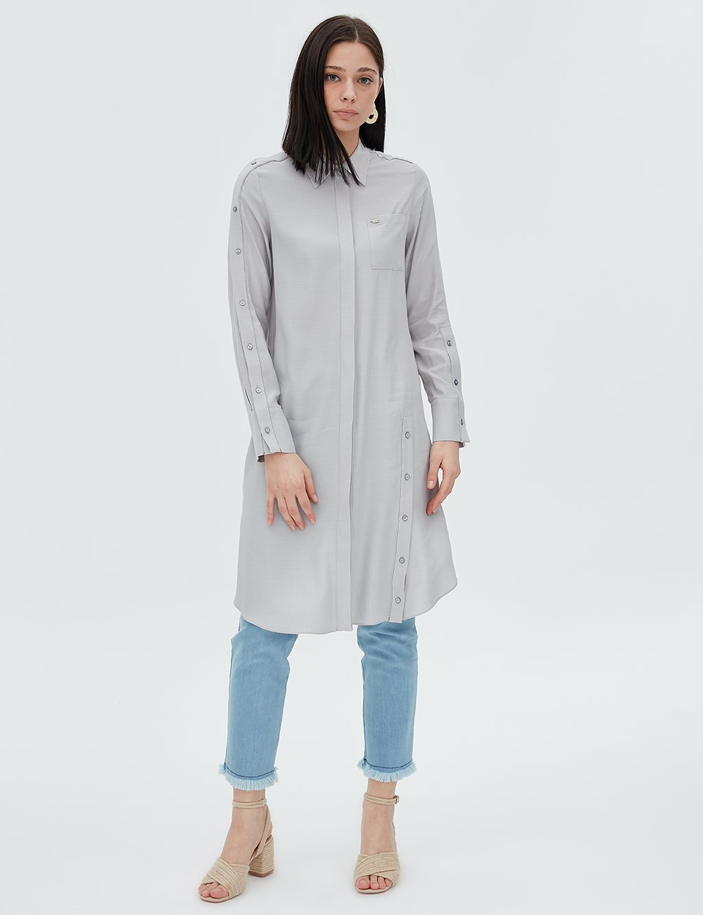 Pearl Detailed Tunic B20 21060 Grey