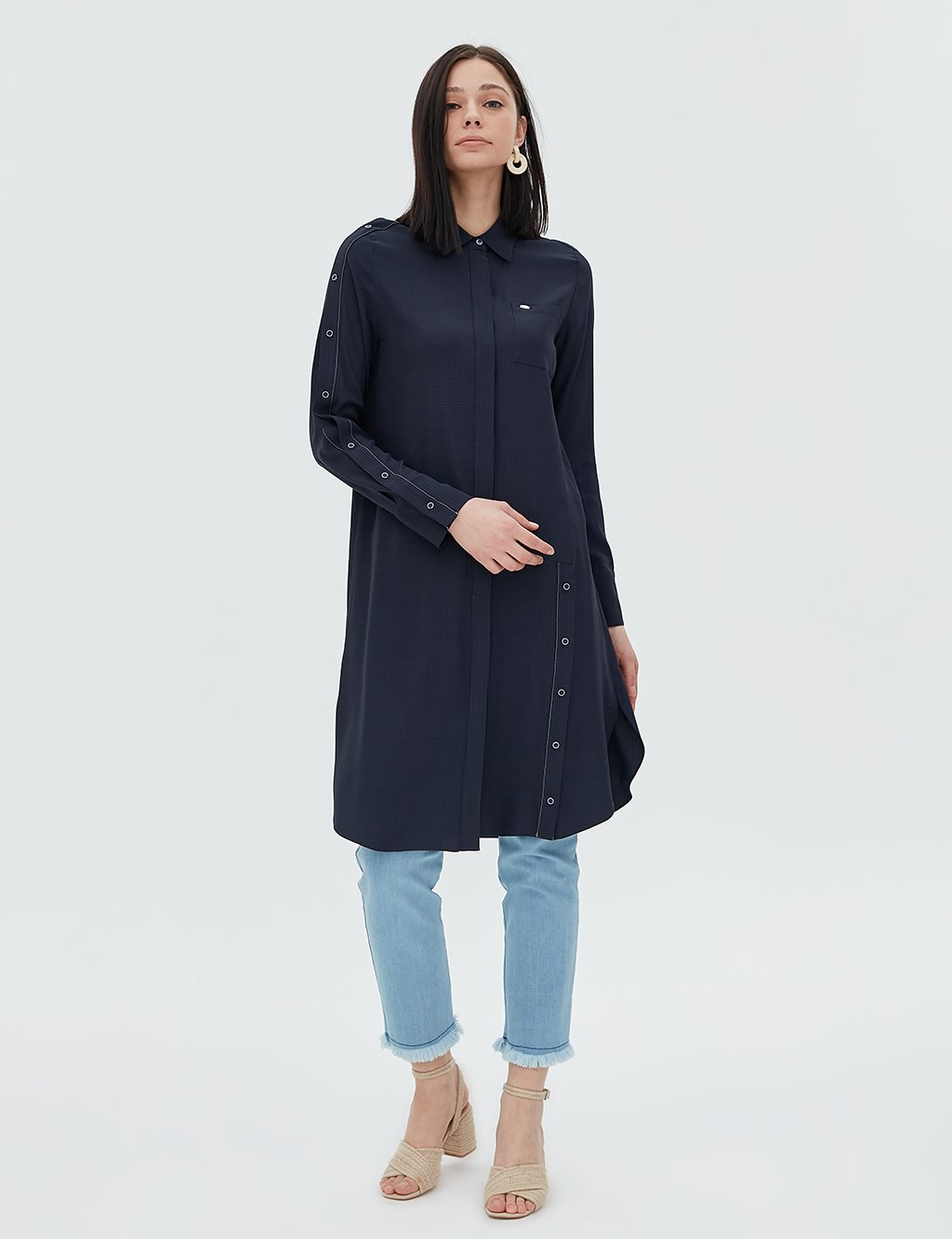 Pearl Detailed Tunic B20 21060 Navy