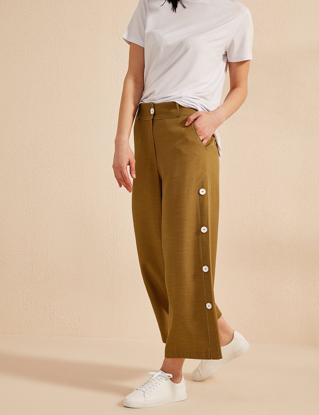 KYR Button Detailed Wide Leg Pants B20 79015 Olive
