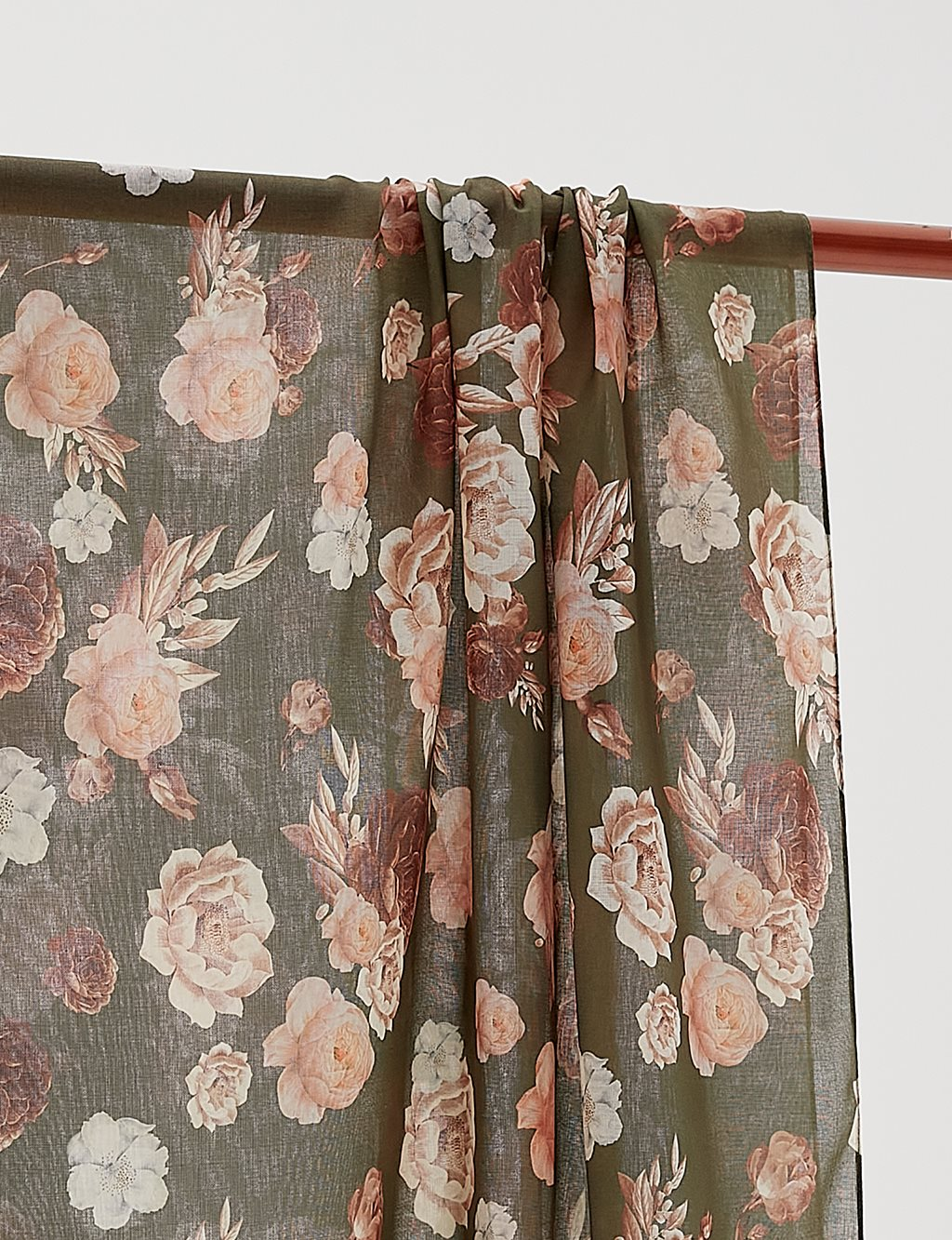 Floral Patterned Cotton Shawl B20 SAL08 Khaki