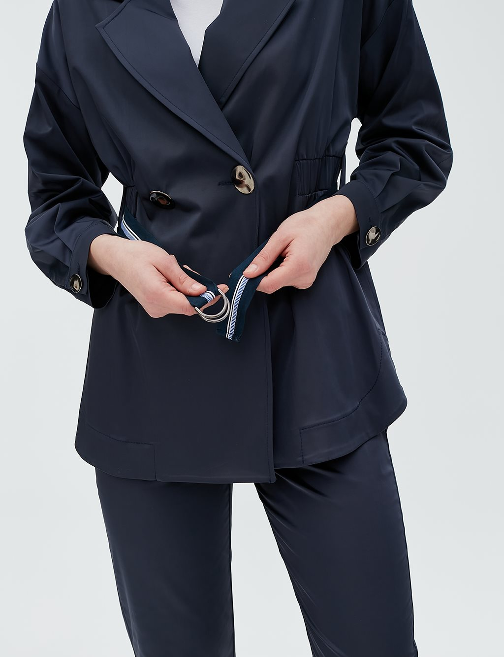 Button Detailed Jacket With Belt B20 13018 Navy