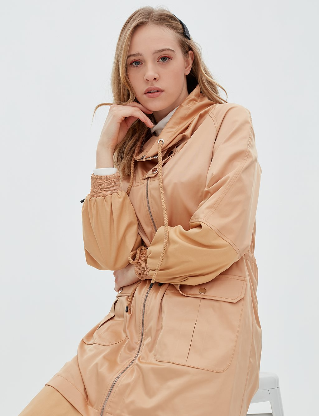 Ruched Coat With Zipper B20 24005 Beige