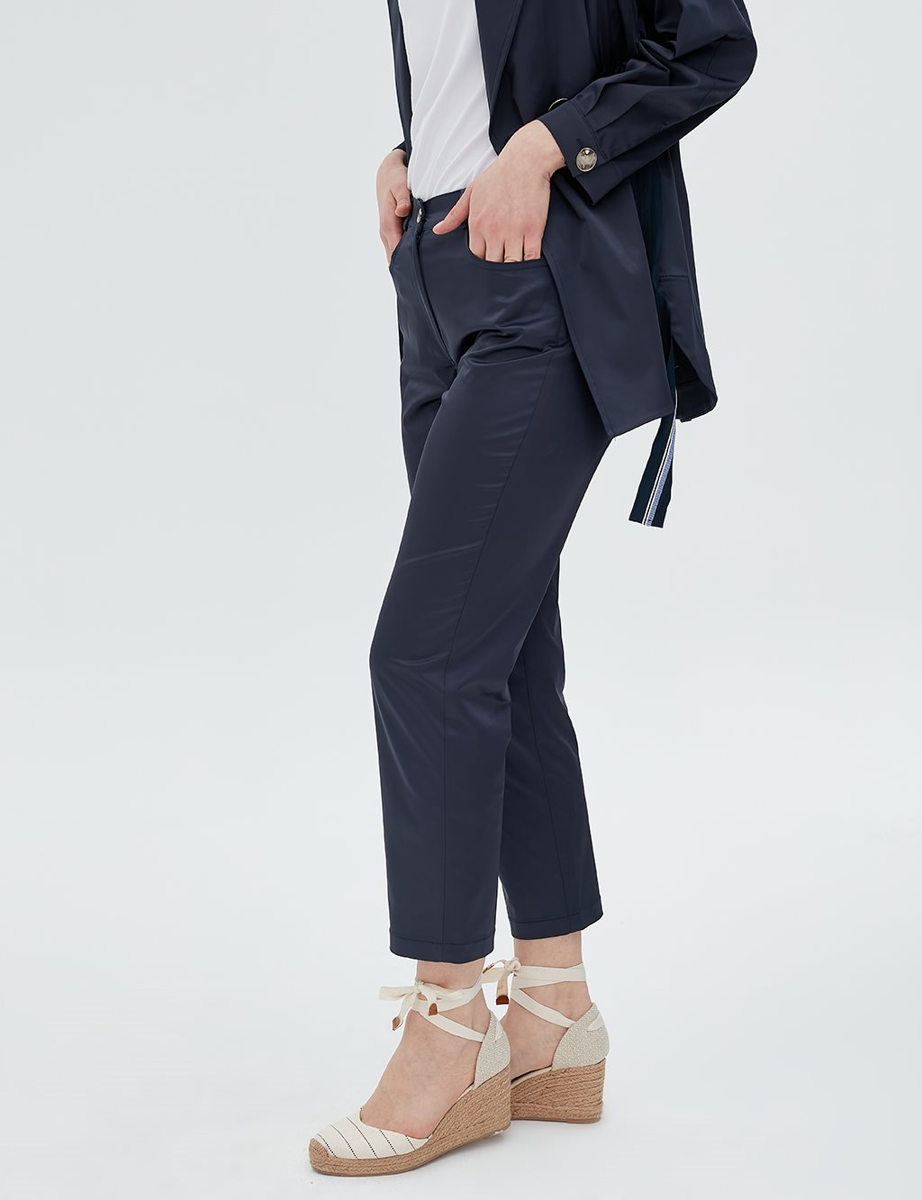 Fabric Detailed Pants B20 19036 Navy