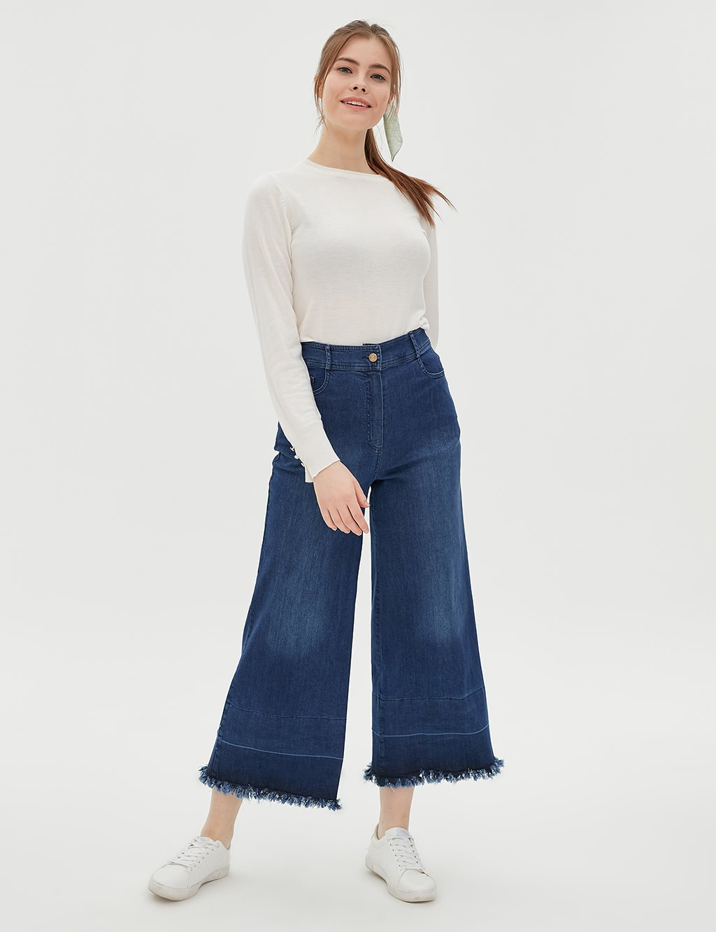 Fringe Detailed Wide Leg Pants B20 19152 Indigo