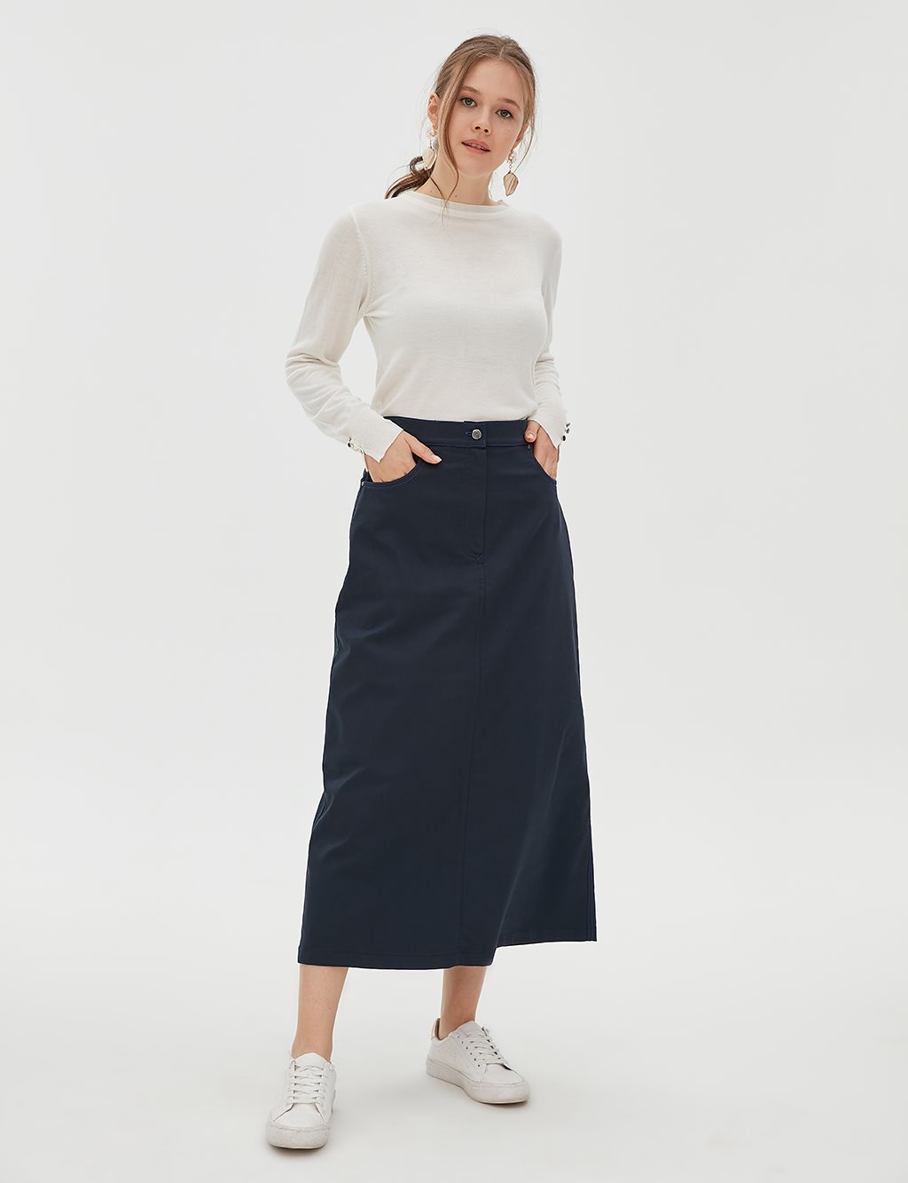 Canvas Skirt With Button Detailed B20 12022 Navy