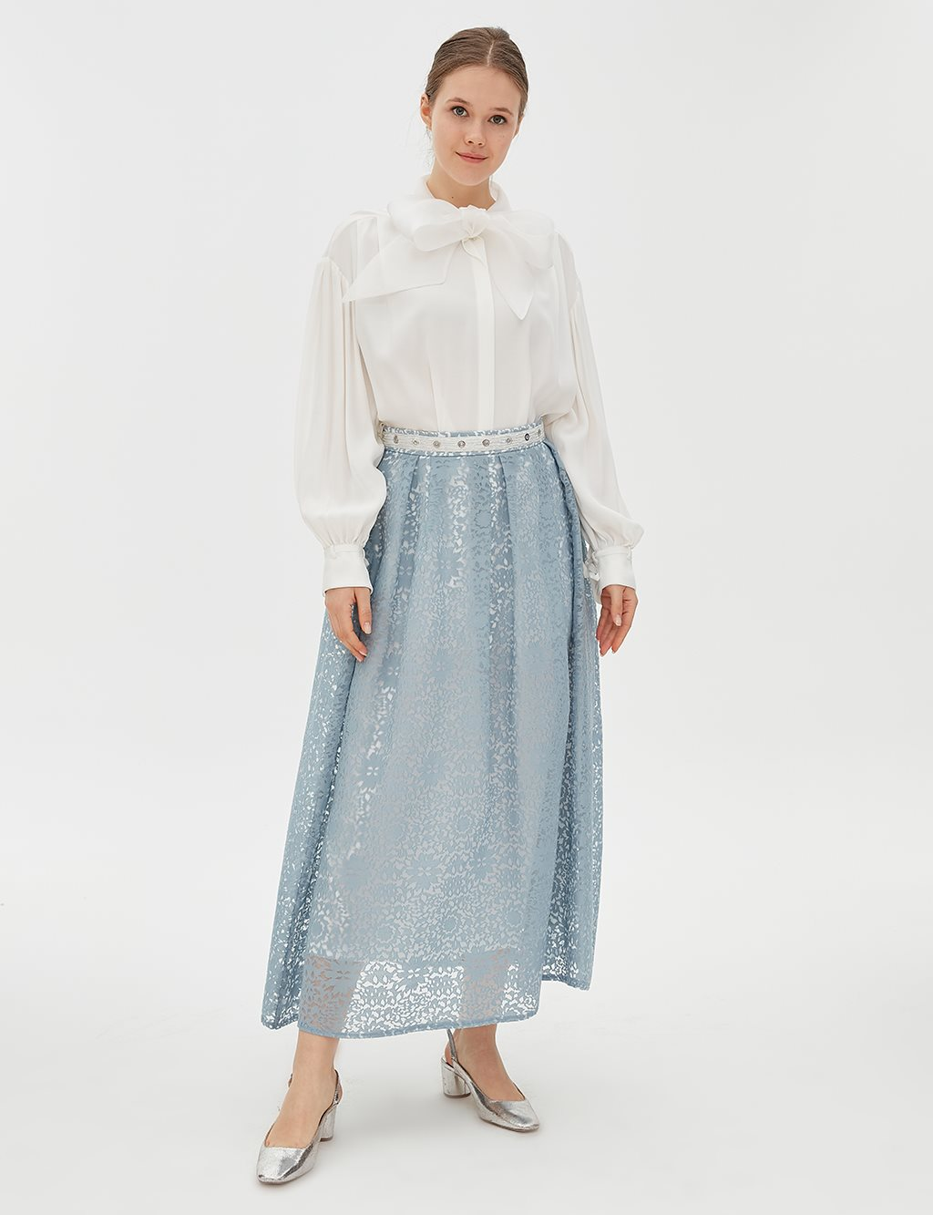 Pleated Lace Skirt B20 12080 Blue