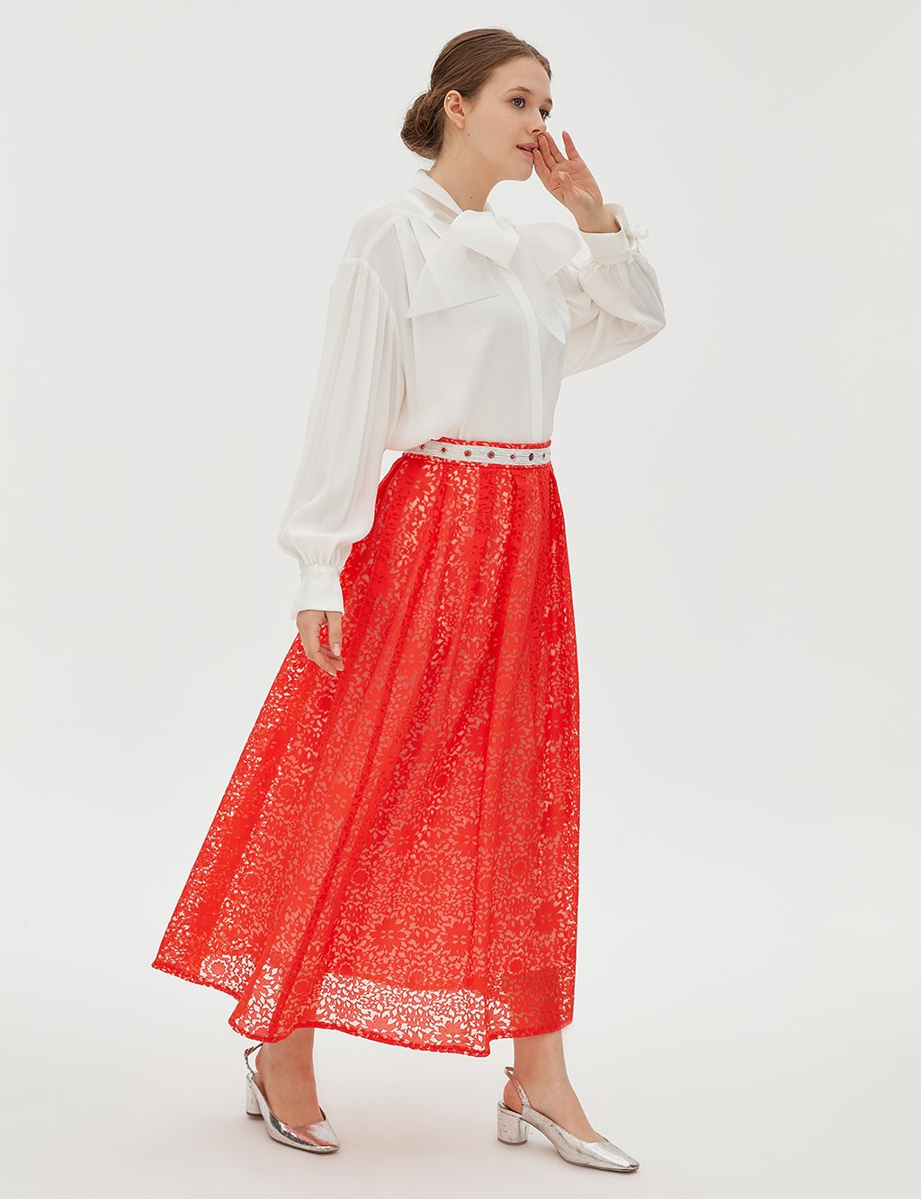 Pleated Lace Skirt B20 12080 Red