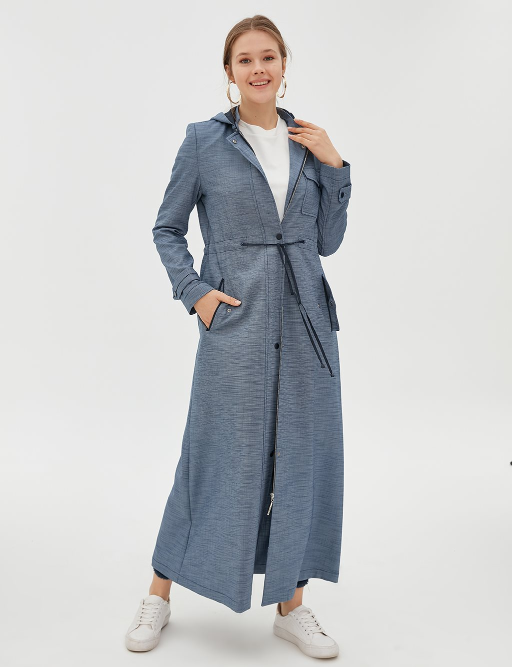 Ruched Overcoat B20 15028 Navy