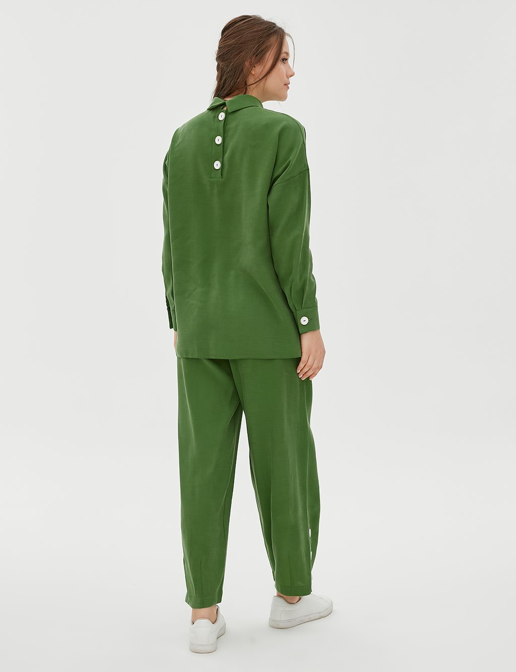 Button Detailed Oversize Suit B20 16008 Green