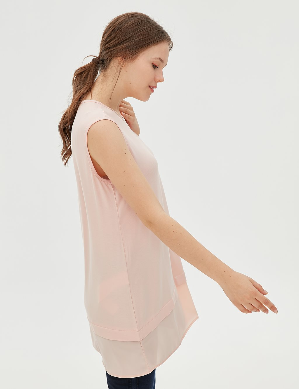Detailed Sleeveless Combed Cotton Tunic B20 21039 Salmon