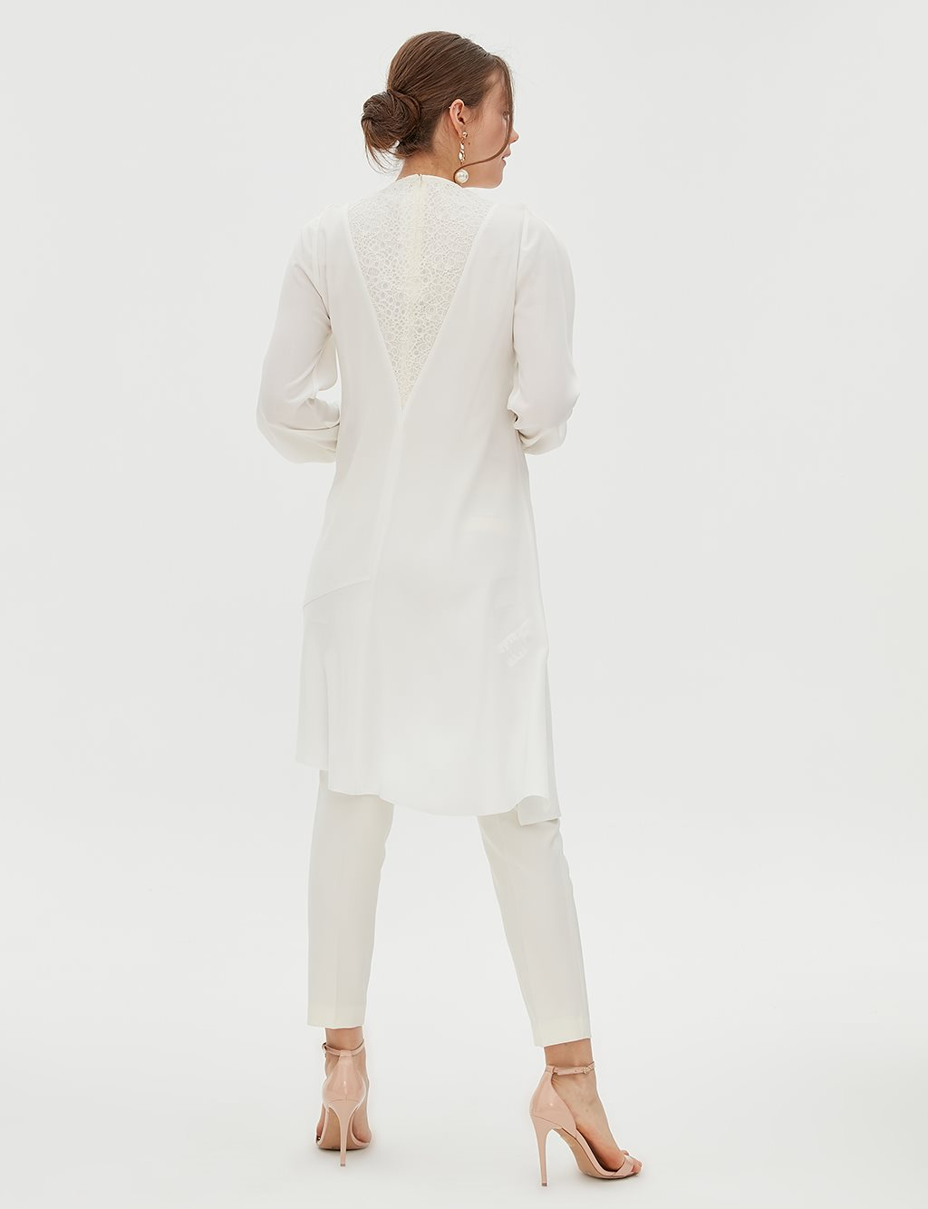 Lace Detailed Asymmetric Tunic B20 21072 Ecru