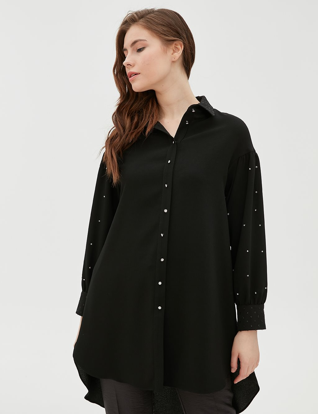 Button Detailed Tunic B20 21077 Black