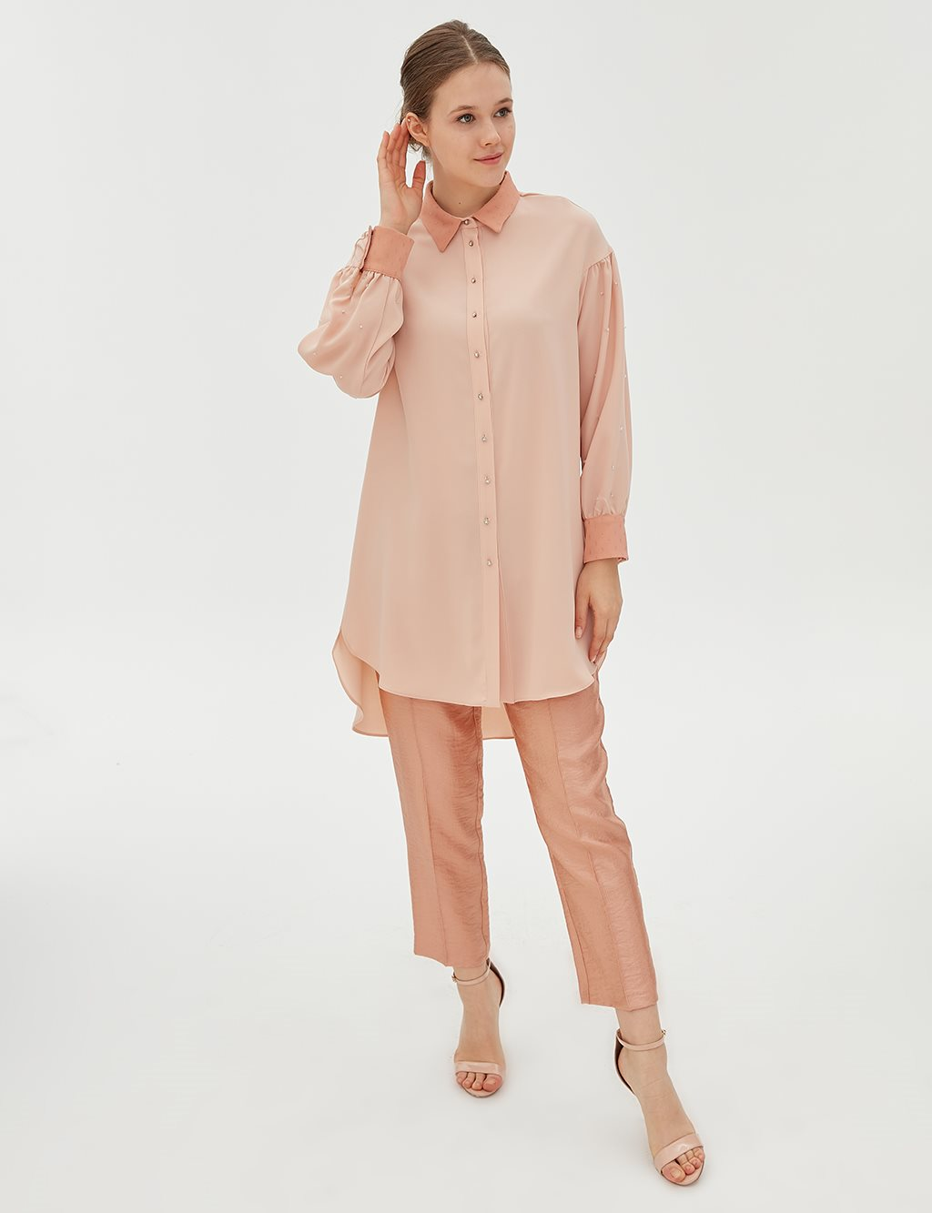 Button Detailed Tunic B20 21077 Powder