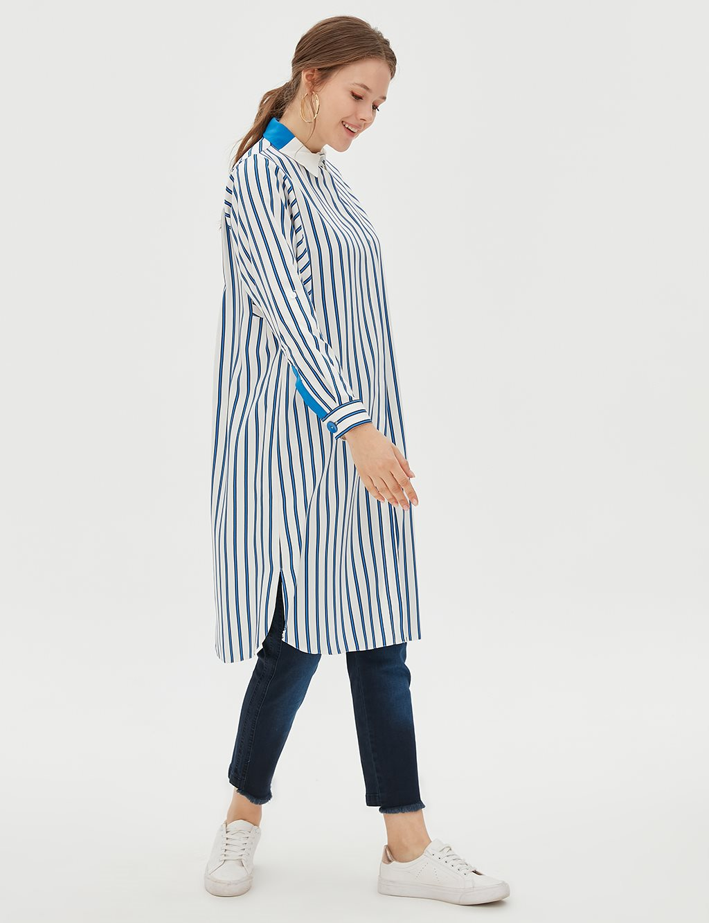 Striped Long Tunic B20 21091 Saxe
