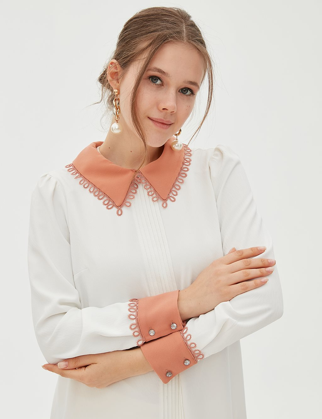Lace Collar Tunic B20 21078 White