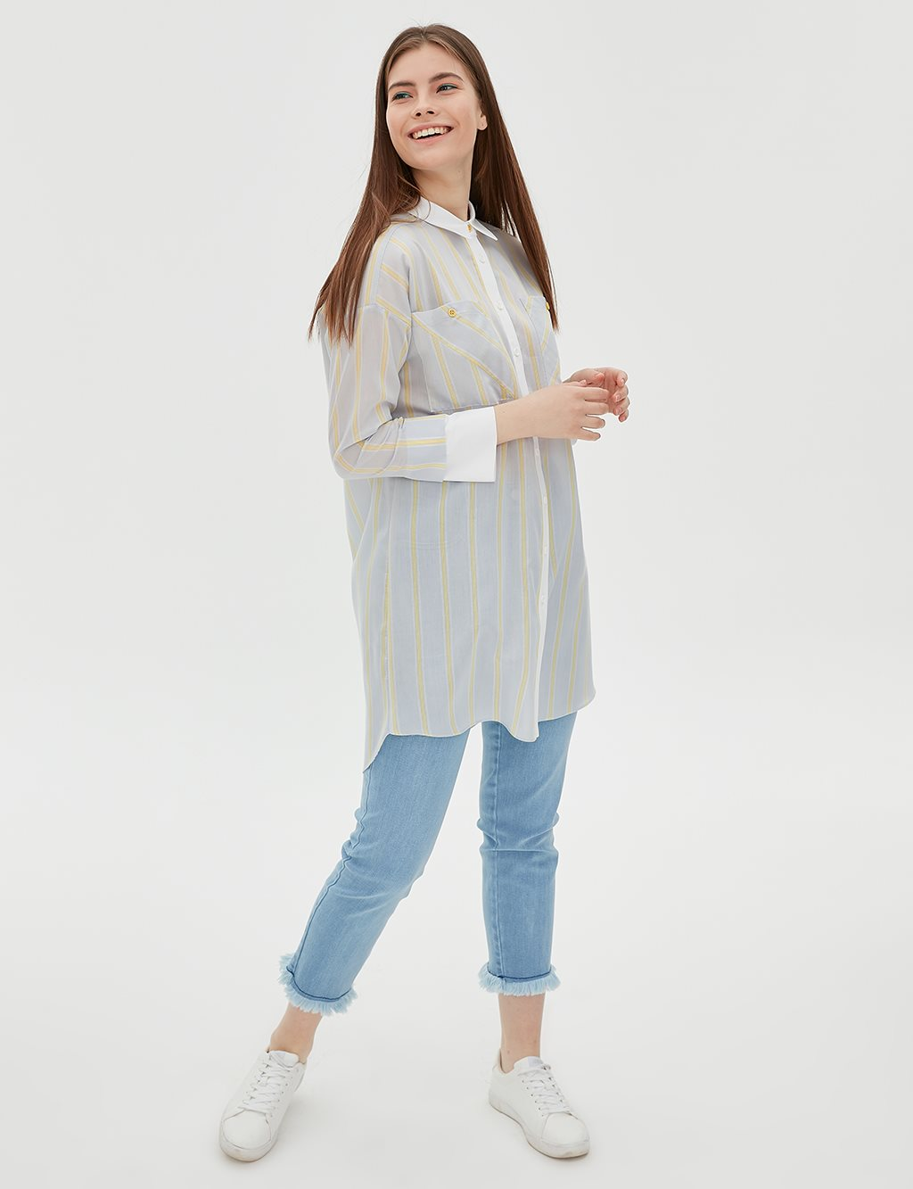 Tunic With Double Pocket B20 21117 Blue