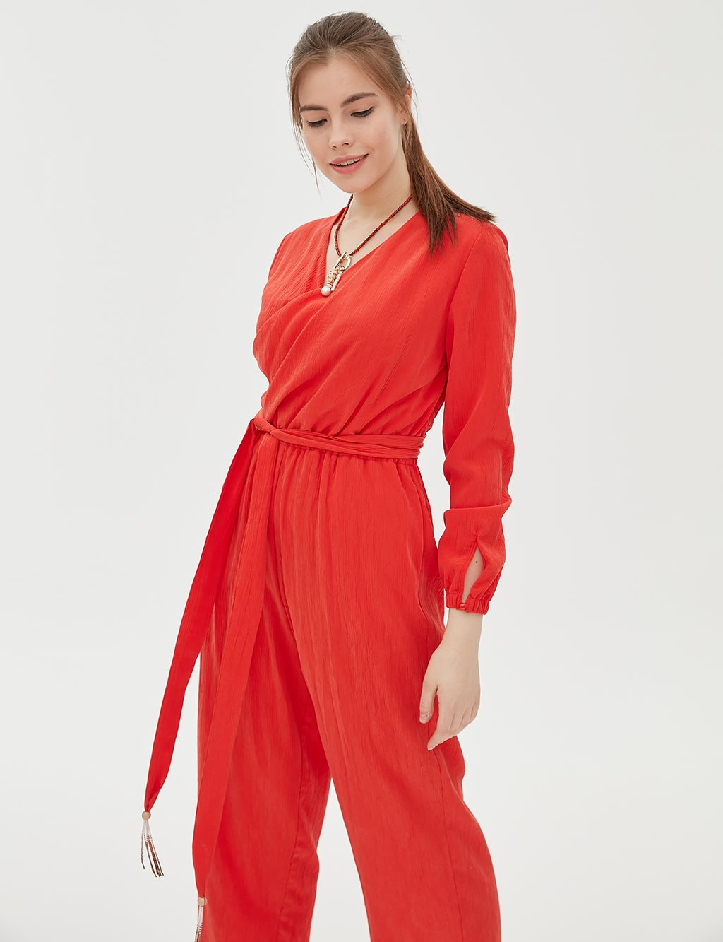 Jumpsuit With Belt B20 22004 Red
