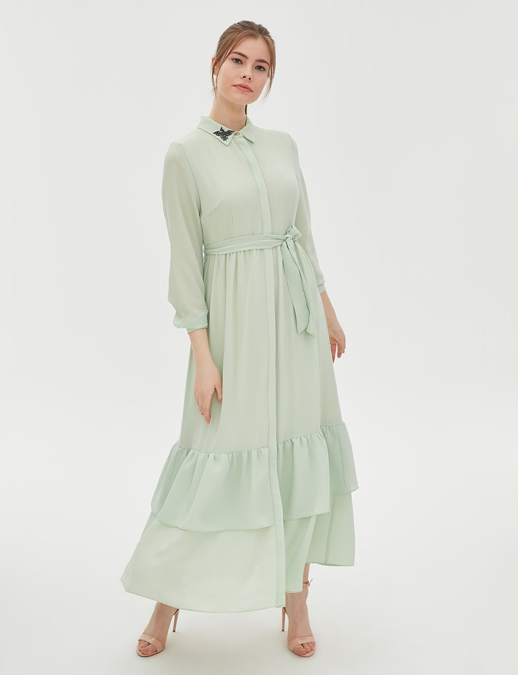Butterfly Detailed Dress B20 23100 Water Green