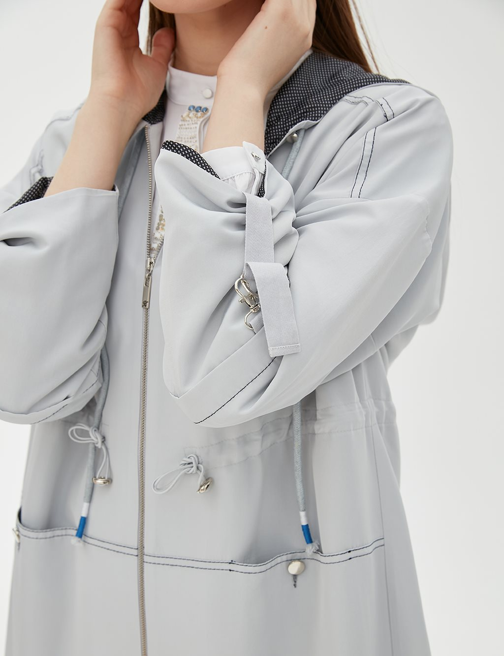 Ruched Coat With Hood B20 24006 Grey