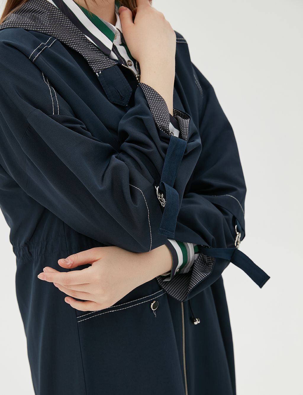 Ruched Coat With Hood B20 24006 Navy