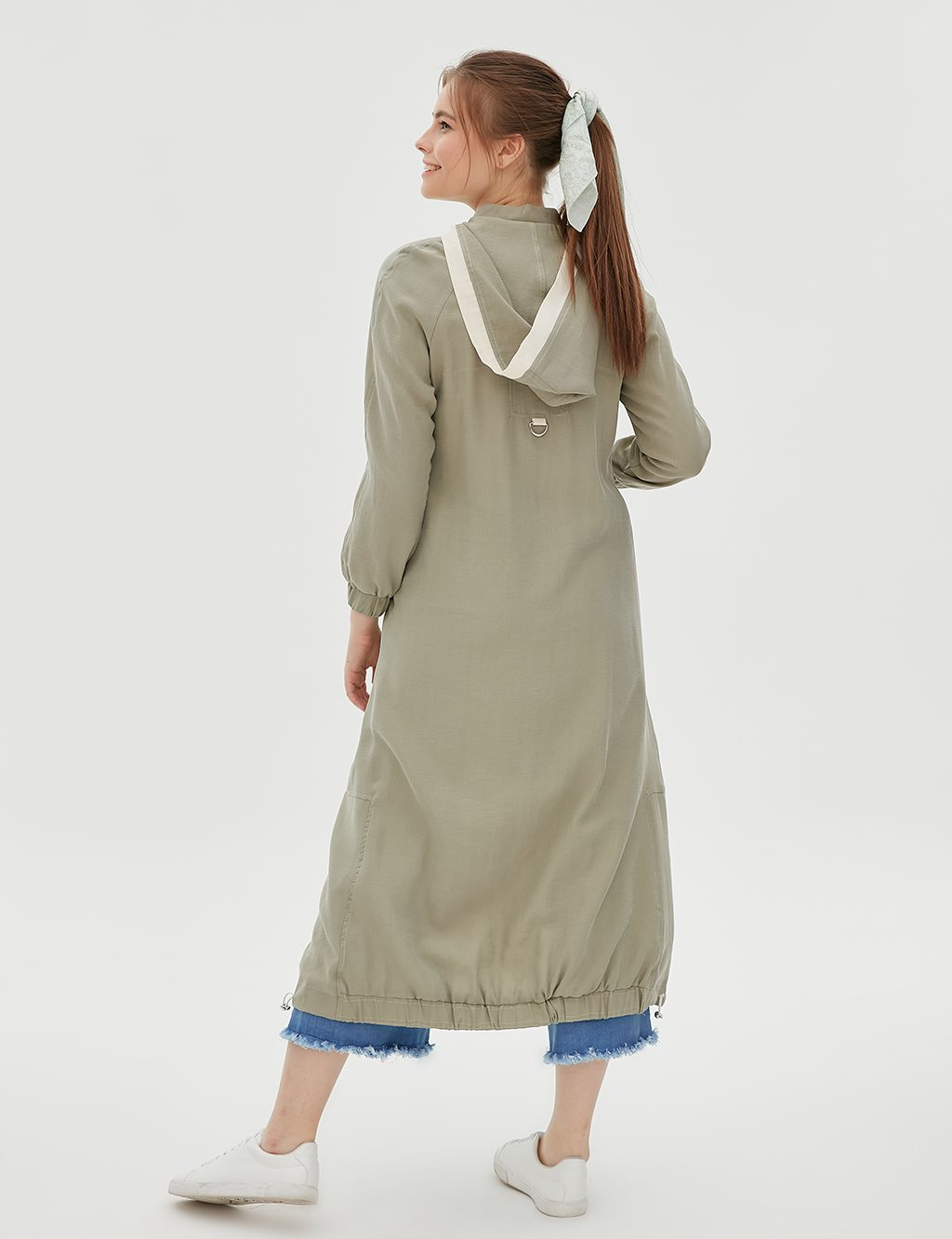 Ruched Coat With Hood B20 25007 Water Green