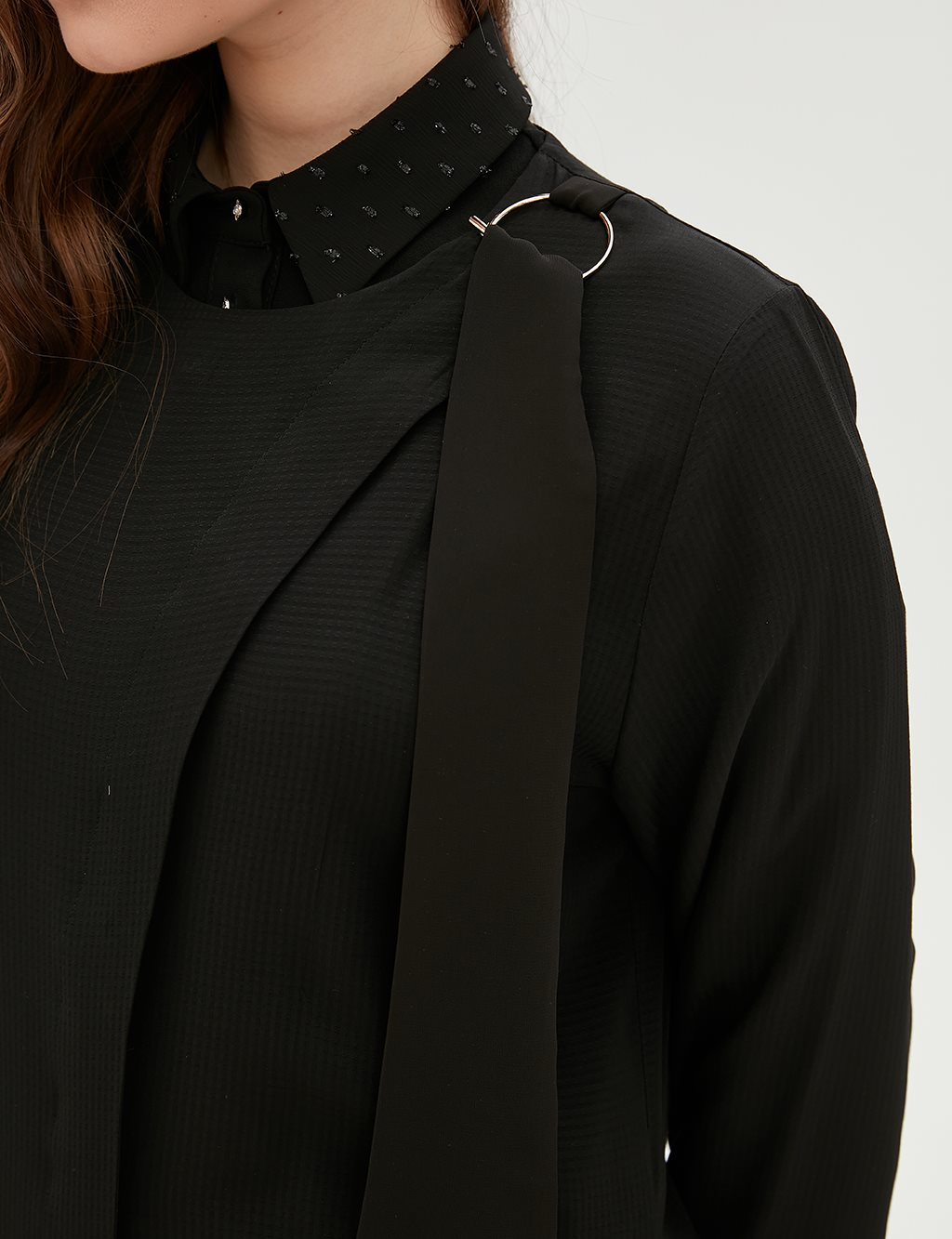 Collar Detailed Coat B20 25014 Black