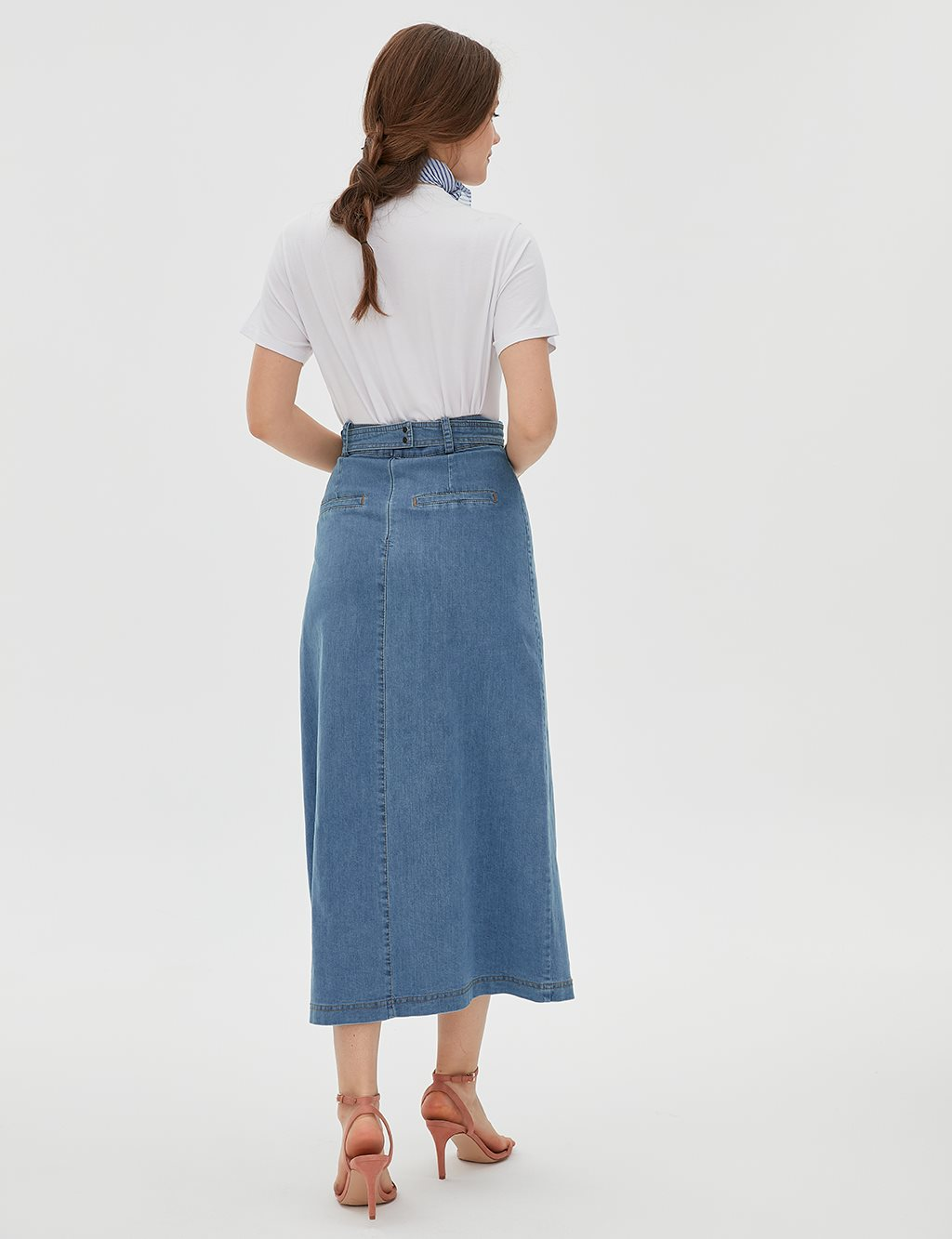 KYR Pocket Detailed Denim Skirt B20 72007 Blue