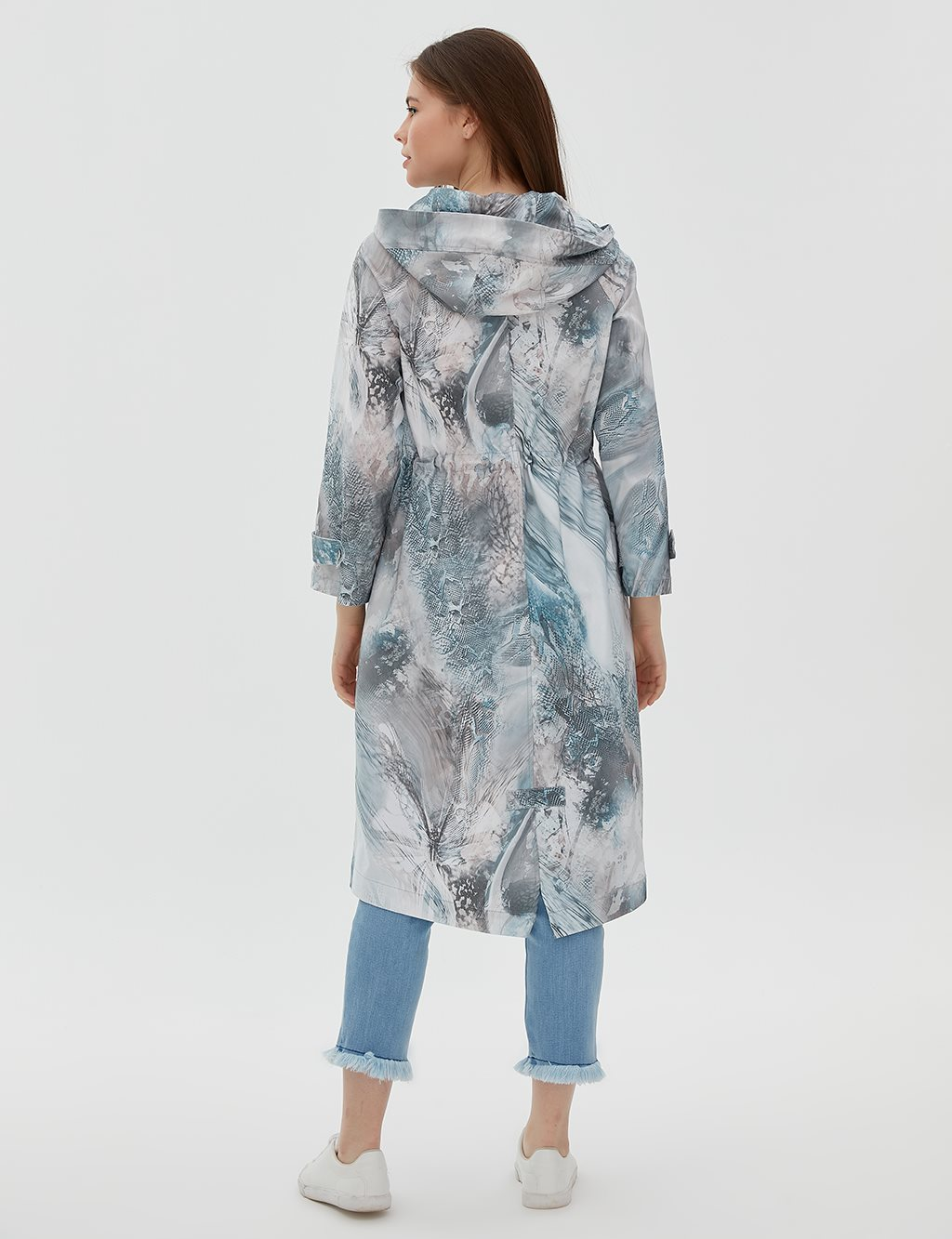 KYR Patterned Coat With Hood B20 74002 Grey