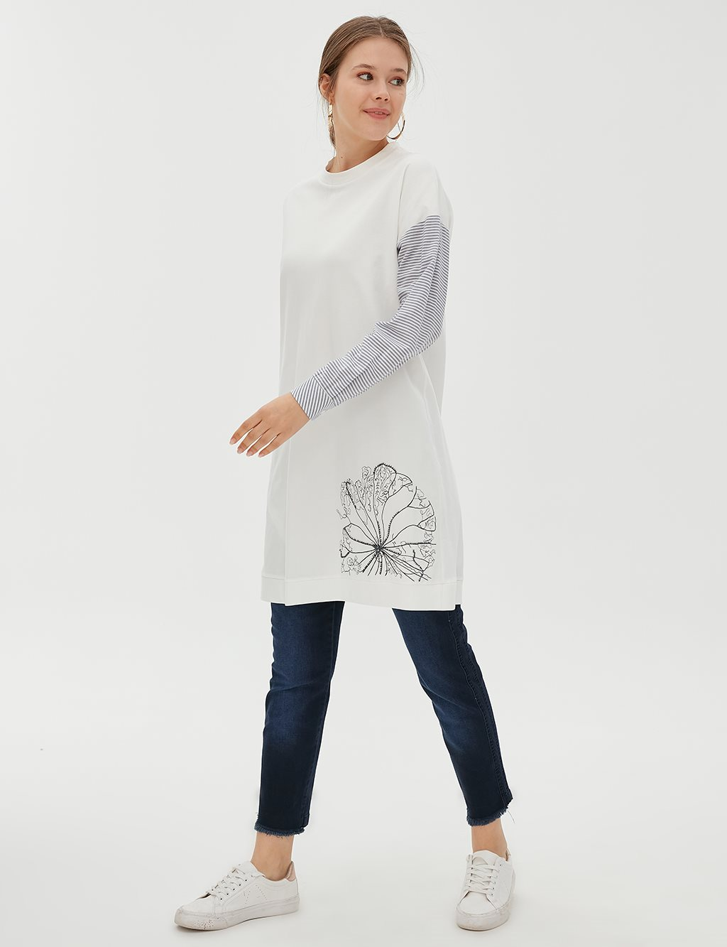 KYR Striped Sleeve Floral Tunic B20 81004 Indigo