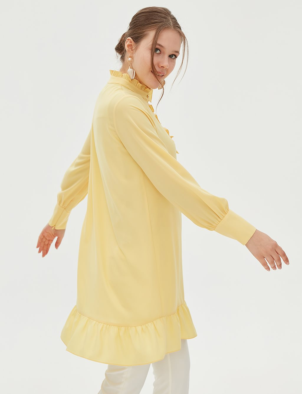 KYR Ruffle Detailed Tunic B20 81337 Yellow