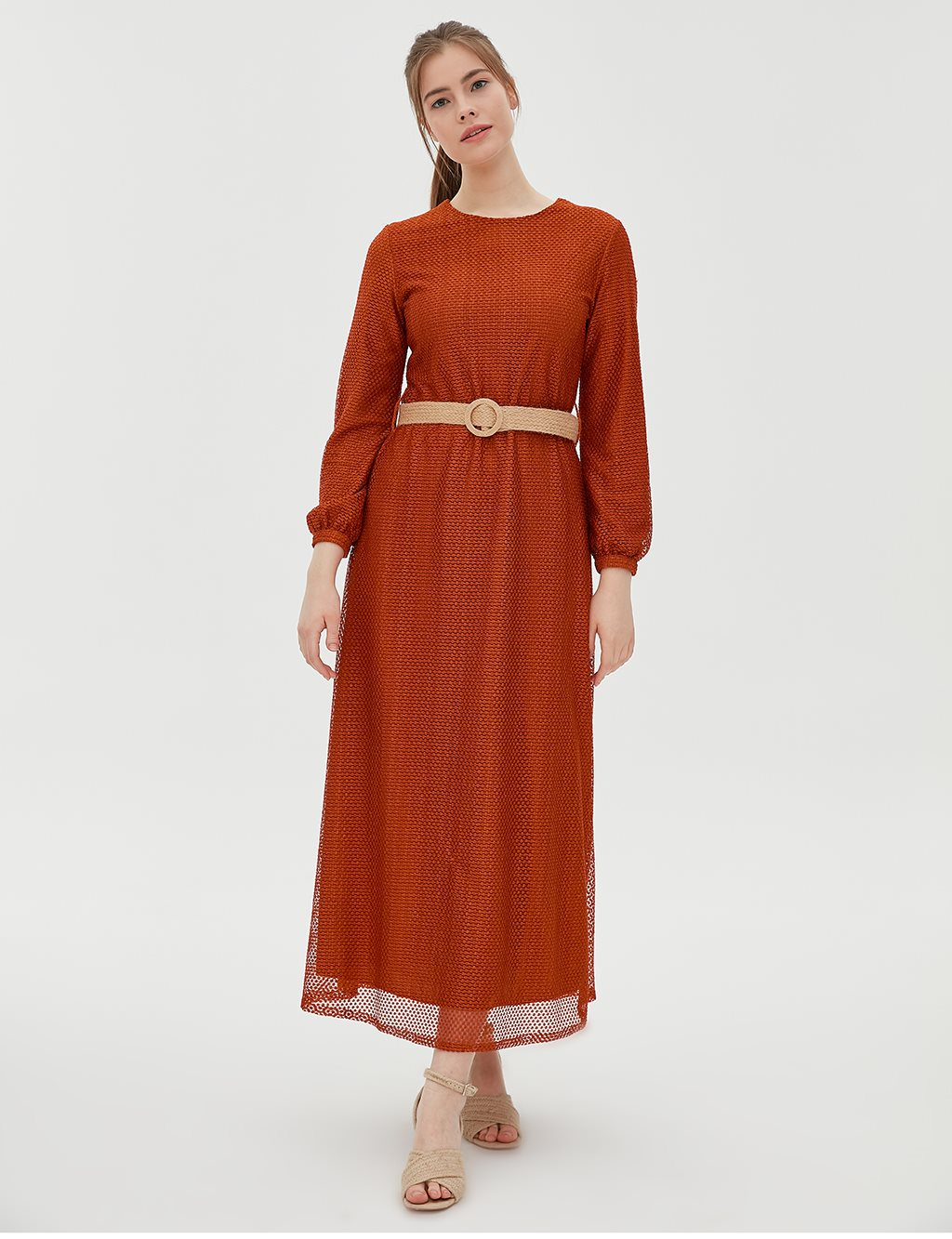KYR Net Dress With Belt B20 83006 Tile