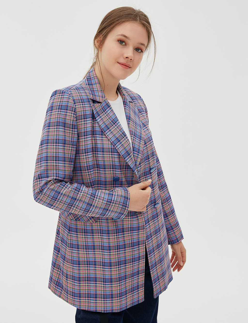 Checkered Blazer Jacket B20 13029 Blue