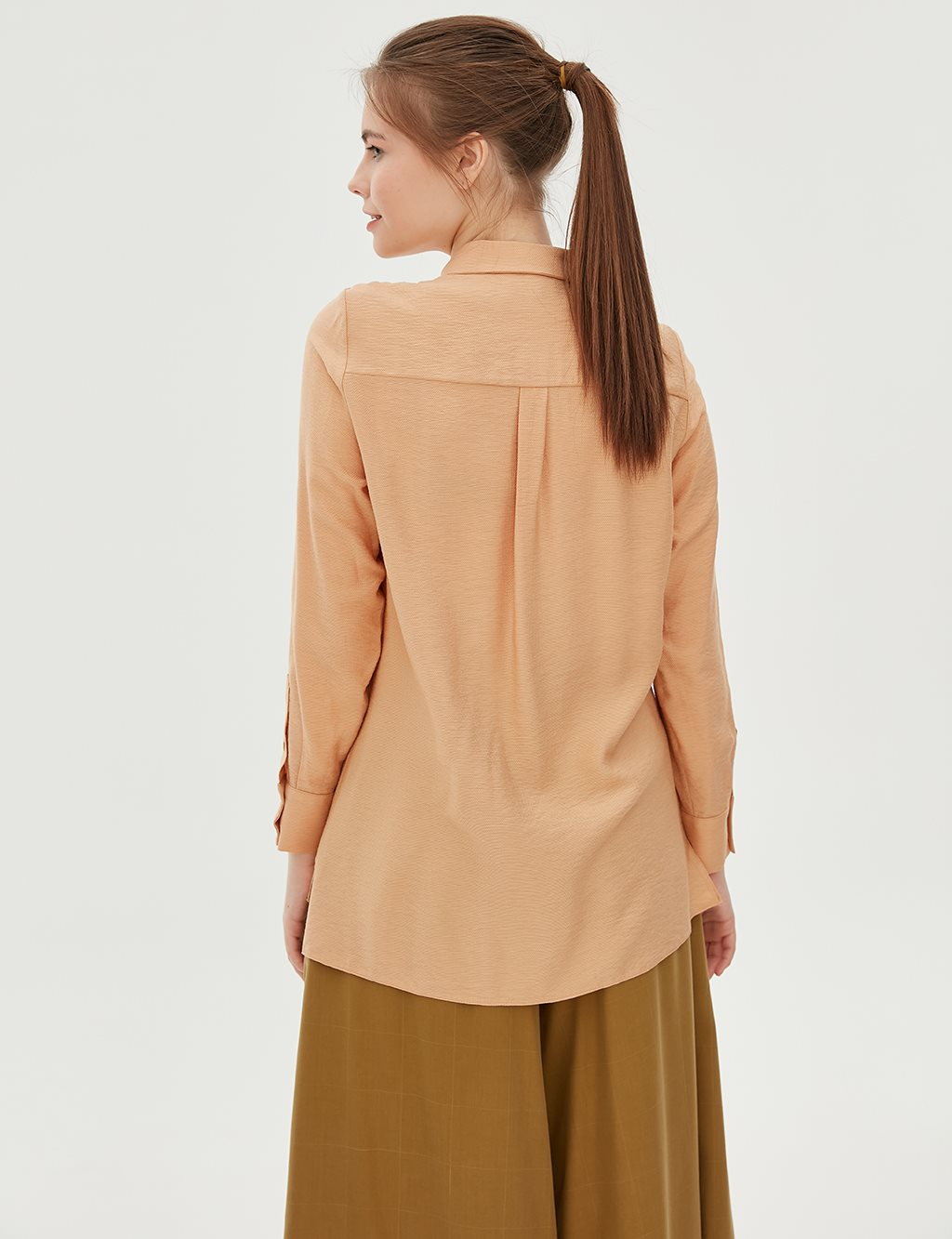 Ruched Detailed Blouse B20 10092 Beige