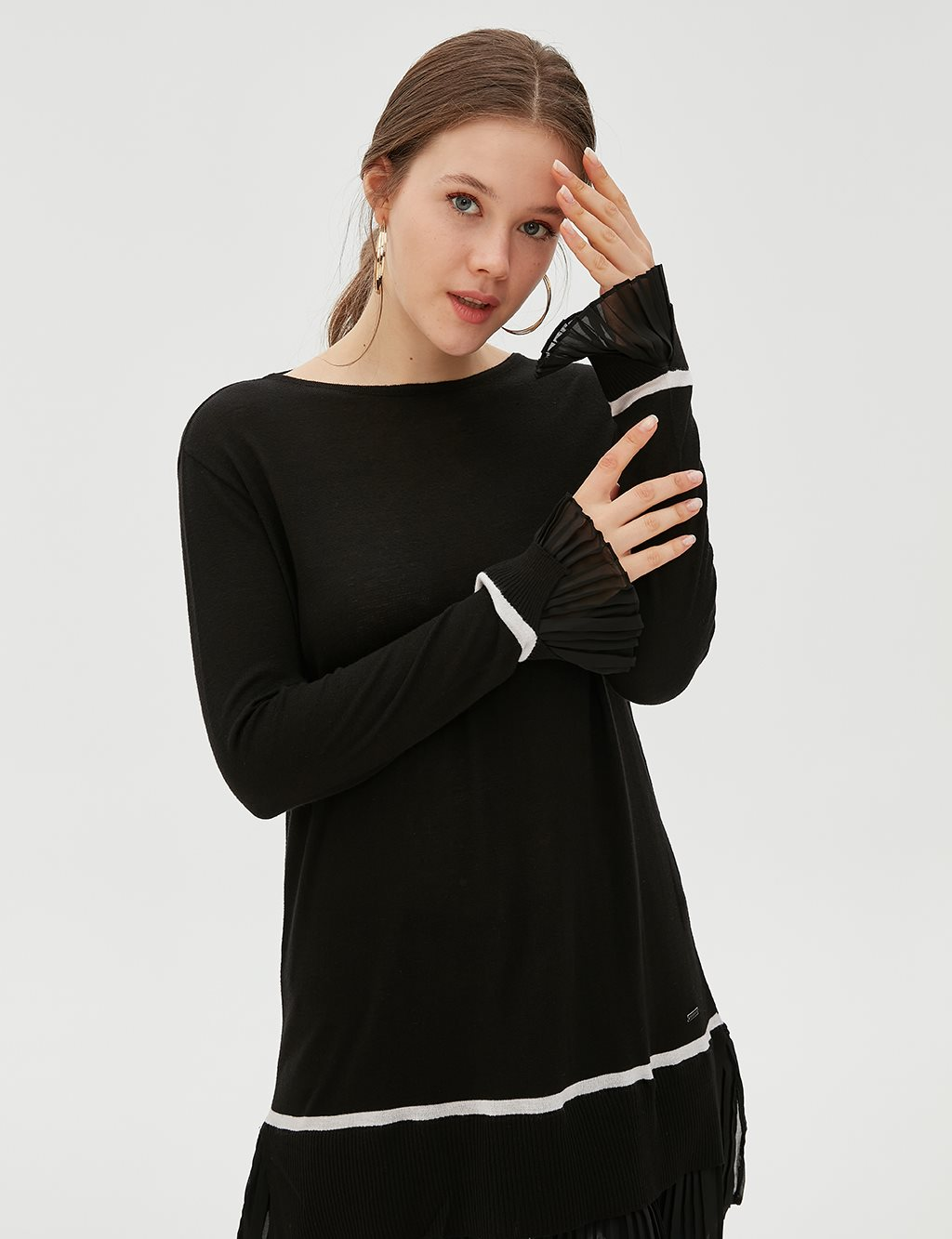 Ruffled Sleeve Knitwear Tunic B20 TRK20 Black