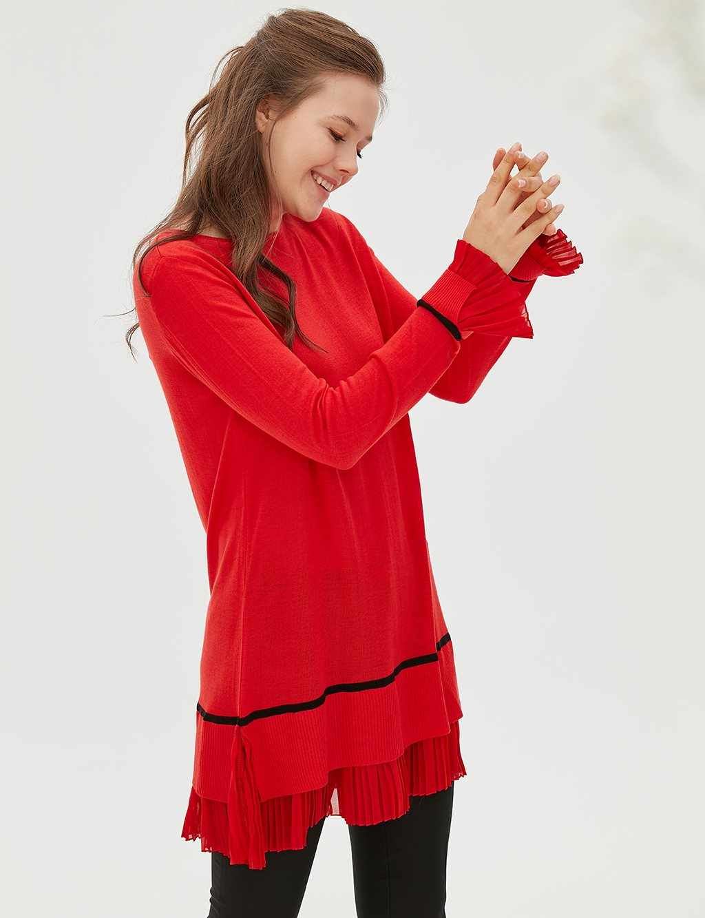 Ruffled Sleeve Knitwear Tunic B20 TRK20 Red