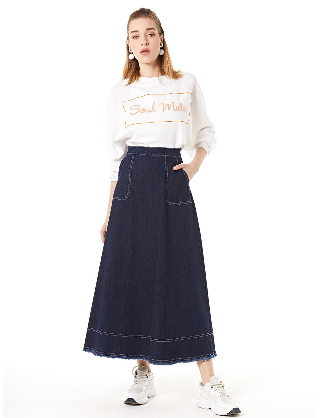 Fringe Detailed Skirt B20 12046 Navy