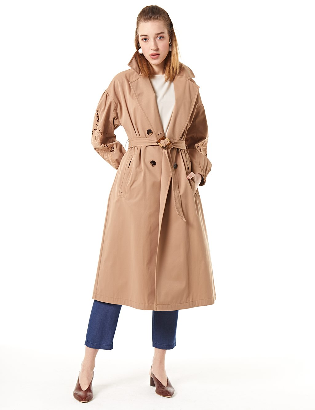 Trenchcoat With Belt B20 14007 Beige
