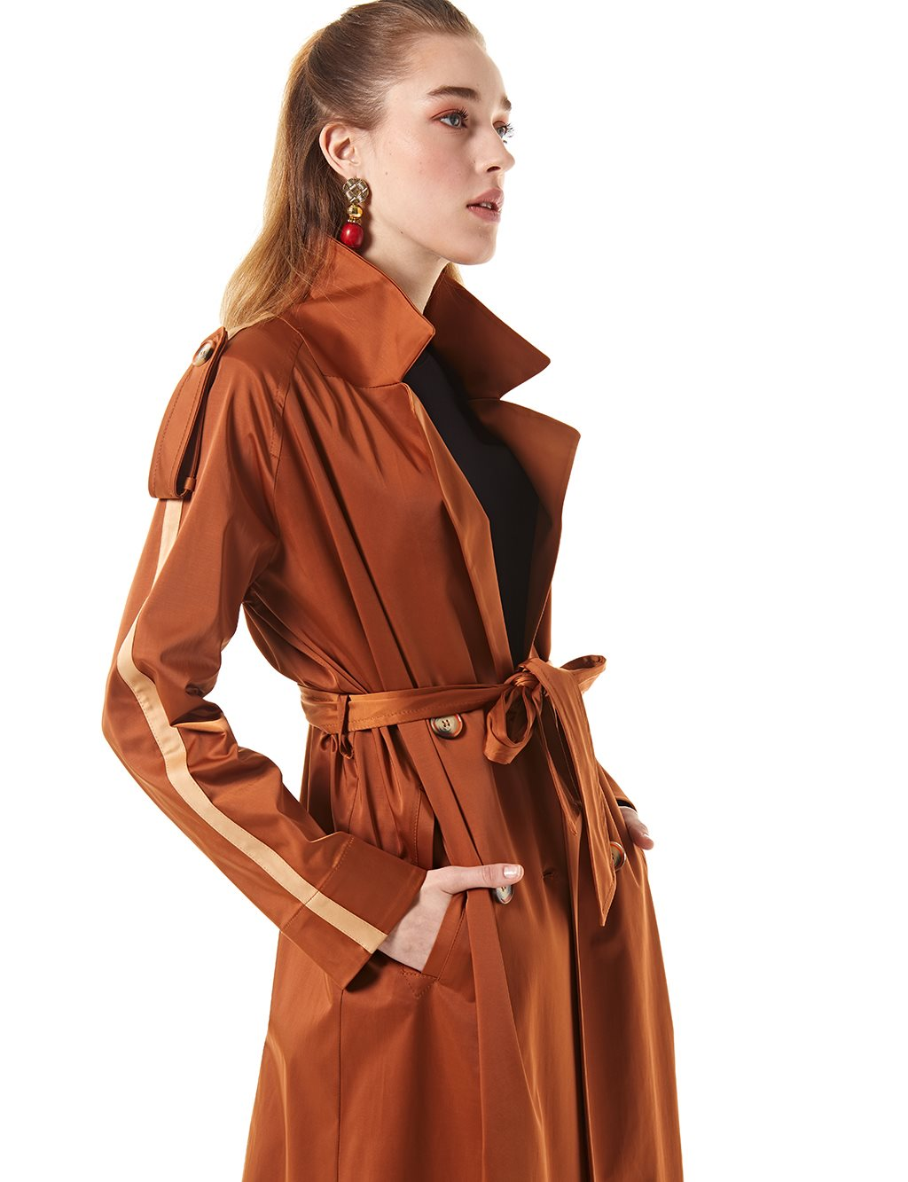 Striped Trenchcoat With Belt Cinnamon B20 14024