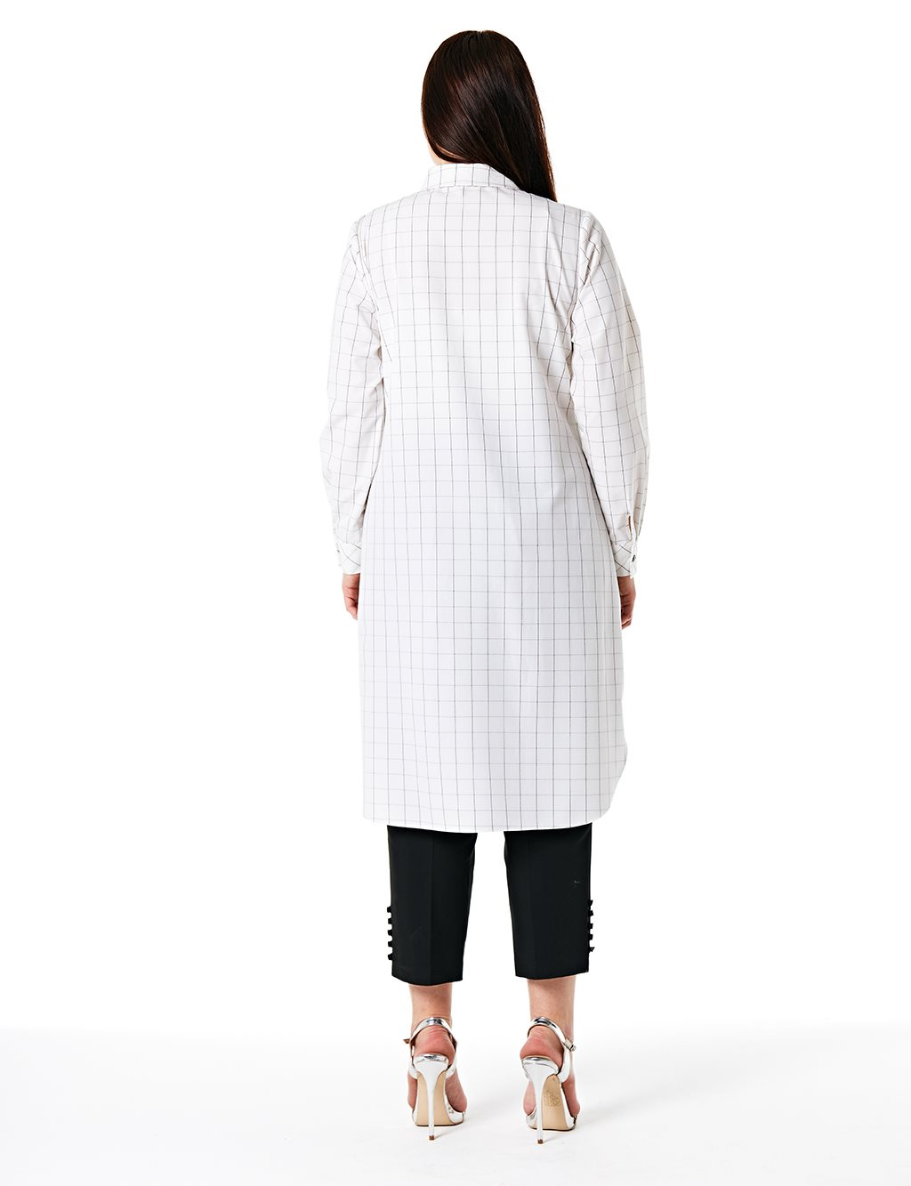 KYR Checkered Tunic With Sequin Details B20 81329 Ecru