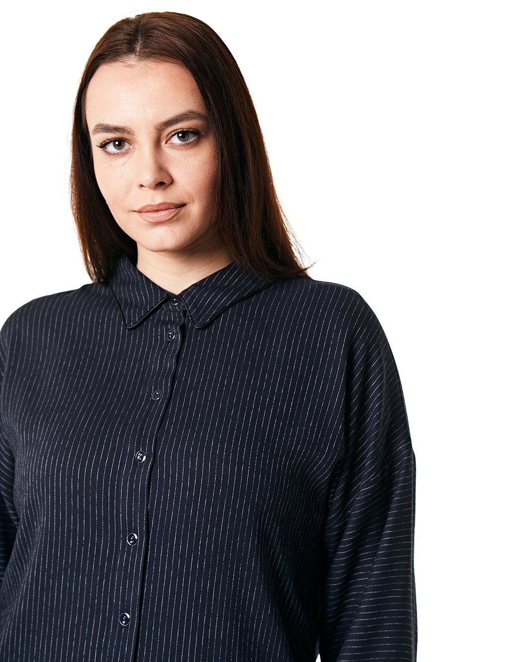 Striped Oversize Shirt B20 10037 Navy
