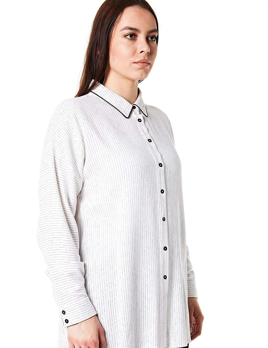 Striped Oversize Shirt B20 10037 Ecru