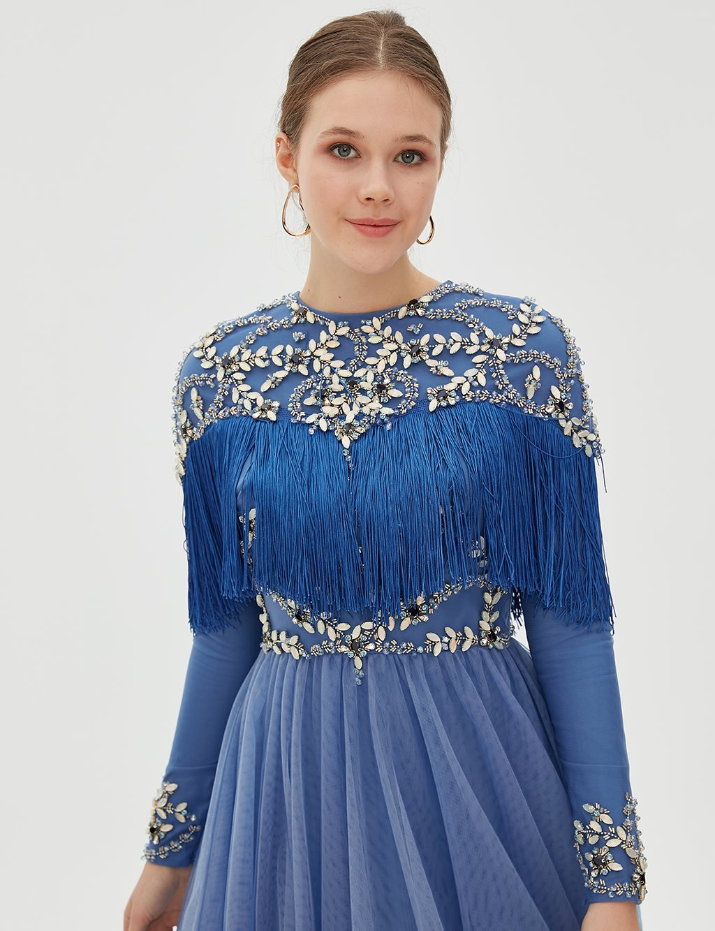 TIARA Fringe Detailed Evening Gown B9 26039 Blue