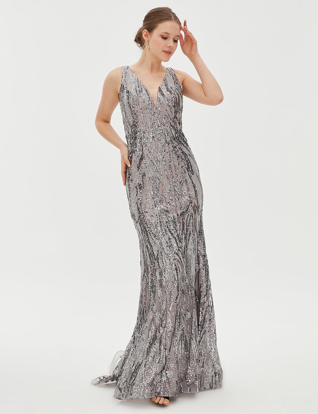 TIARA Sequin Detailed Evening Gown B20 26141 Grey